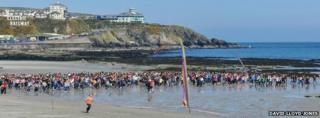 Three-legged race in Douglas, Isle of Man
