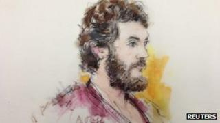 Colorado shooting suspect James Holmes is pictured in a courtroom sketch during a hearing in Centennial, Colorado 1 April 2013
