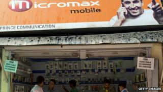 Micromax ad outside a shop selling mobile phones in Delhi