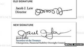 Jack Lew's signature, before and after