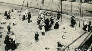 Families gather around swings