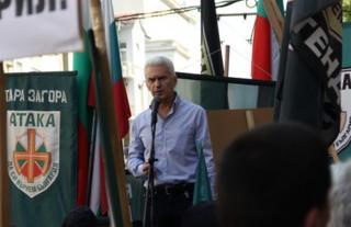 Volen Siderov, leader of Bulgarian nationalist party Ataka, at a rally