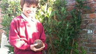 Jack Sinclair with a 9 lb civil war cannonball