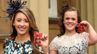 Jade Jones and Ellie Simmonds outside Buckingham Palce