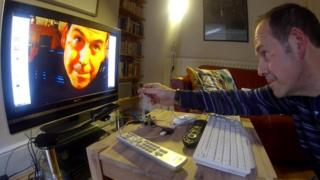 Rory Cellan-Jones films himself with the Raspberry Pi Camera