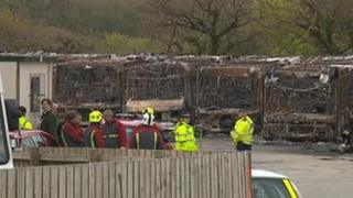 Bus depot fire