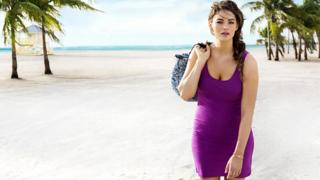 Jennie Runk in her H&M beachwear campaign