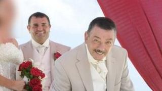 Christopher Welsh Sr (front) at the wedding of his son, Christopher Jr (back)