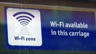 Wifi sign in train carriage