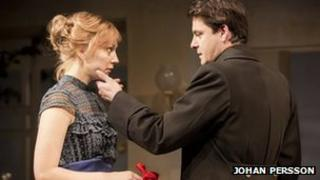 Hattie Morahan, Dominic Rowan and friend in A Doll's House. Photo by Johan Persson