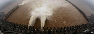 Sluice gate at dam
