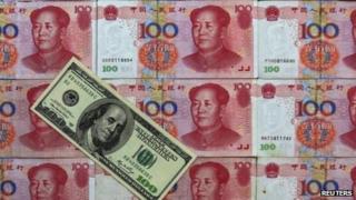 Yuan notes and 100 dollar bill