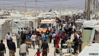Syrian refugees in the Al-Zaatari refugee camp