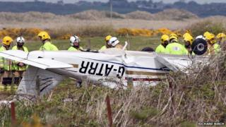 The light aircraft wreckage