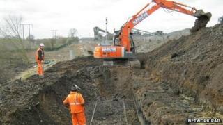 Spoil removal from landslip site