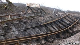 Damage at landslip site