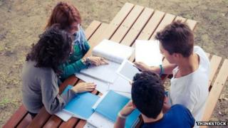 Students revising outside