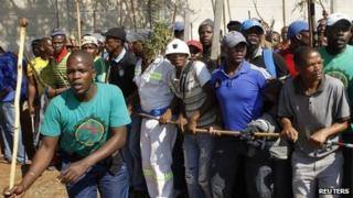 Striking Lonmin workers