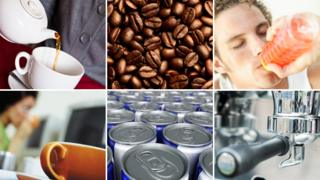 Tea, coffee beans, energy drink, espresso maker, cans of energy drinks, coffee