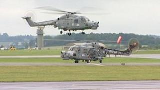 Lynx helicopters at RNAS Yeovilton