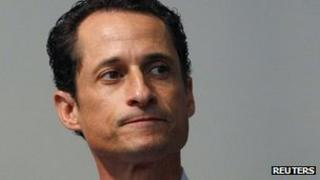 Anthony Weiner pauses as he announces that he will resign from the United States House of Representatives during a news conference in Brooklyn, New York, in 16 June 2011