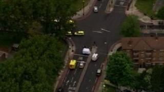 Aerial view of Woolwich incident scene