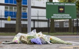 Floral tributes outside Woolwich Barracks