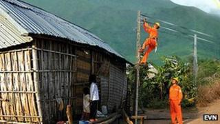 Electricity workers in Vietnam