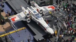 Giant Lego model of a jet plane