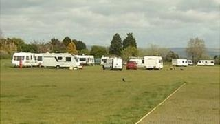 Travellers' caravans on Horsham Fields