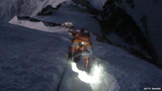 """Climbers in a """"traffic jam"""" on Everest in May 2012"""