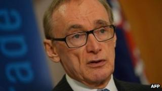 Australian Foreign Minister Bob Carr, in file image from 2 May 2013