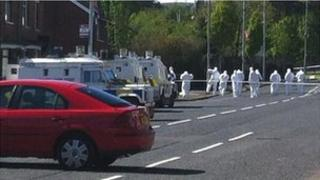 Forensic officers at the scene of the attack