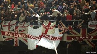 England fans during rioting at Lansdowne Road in 1995