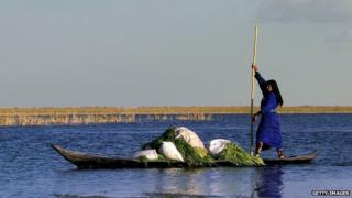 A woman rows a traditional boat in an Iraqi marsh
