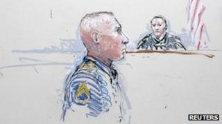 Army Staff Sergeant Robert Bales as he is arraigned on 16 counts of premeditated murder, six counts of attempted murder and seven of assault at Joint Base Lewis-McChord, 17 January 2013