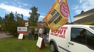 Cuts protest at Devon and Somerset Fire Authority