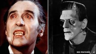 Christopher Lee as Dracula and Boris Karloff as Frankenstein's monster