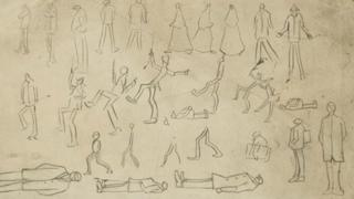 Study of figures by LS Lowry