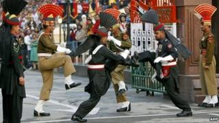 Indian and Pakistani border guards at Wagah crossing. File photo