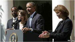 From left: Robert Wilkins, Cornelia Pillard, Barack Obama and Patricia Millett in the White House Rose Garden, Washington DC 4 June 2013