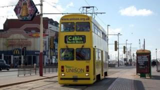 A tram on Blackpool's Golden Mile