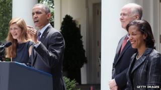 From left: Samantha Power, President Barack Obama, Tom Donilon and Susan Rice in the White House Rose Garden, Washington DC 5 June 2013