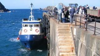 Sark Shipping ferry in Maseline Harbour with passengers waiting to board