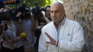 Serge Ayoub, leader of the Revolutionary Nationalist Youth in France, after police questioning