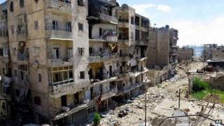 Image supplied by activists purportedly showing war-damaged buildings in Aleppo (5 June 2013)