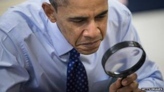 Barack Obama holding a spy glass