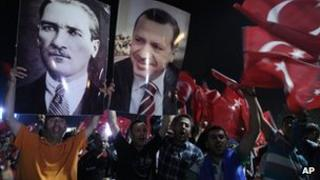 Supporters of Turkish PM rally