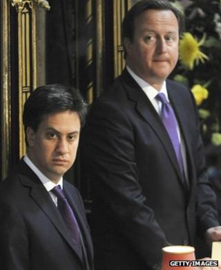 Ed Miliband and David Cameron at last week's service marking the 60th anniversary of the Queen's coronation