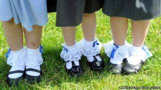 Children wearing socks